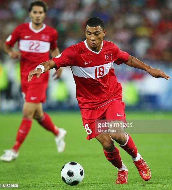 Kazim Kazim of Turkey runs with the ball during the UEFA EURO 2008 Quarter Final match between Croatia and Turkey at Ernst Happel Stadion on June 20,...