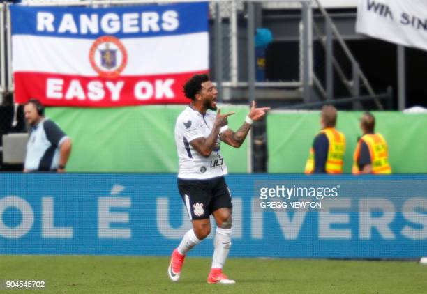 Kazim of Brazilian club Corinthians celebrates after scoring a first half goal against Scottish club Rangers FC during their Florida Cup soccer game...