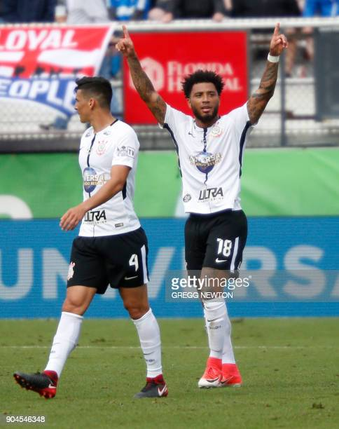 Kazim of Brazilian club Corinthians gestures to fans after scoring a first half goal against Scottish club Rangers FC during their Florida Cup soccer...