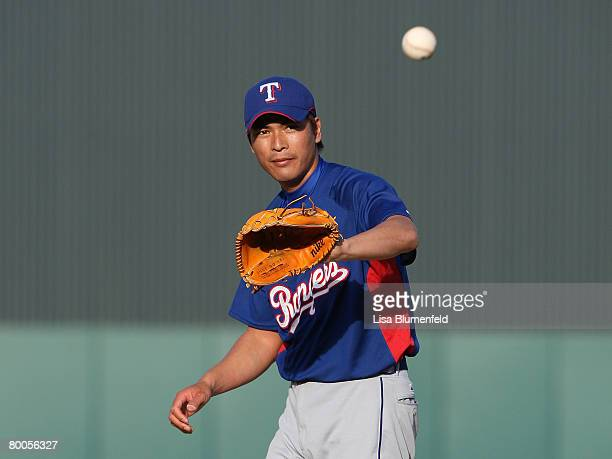 Kazou Fukumori of the Texas Rangers on the pitching mound during the game against the Los Angeles Angels of Anaheim at Tempe Diablo Stadium on...