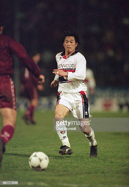 Kazu Miura of Genoa looks to reach the ball during the Serie A match between Reginna and Genoa held on February 5 1995 in Reginna Italy Reginna won...