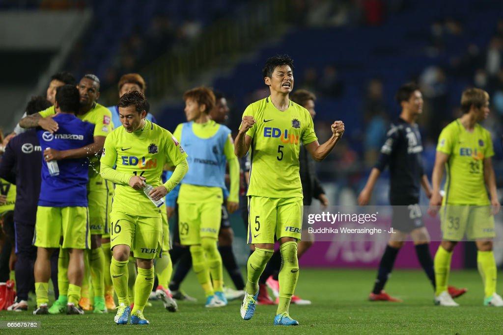 Kazuhiko Chiba of Sanfrecce Hiroshima celebrates his side's 1-0 victory after the J.League J1 match between Gamba Osaka and Sanfrecce Hiroshima at Suita City Football Stadium on April 7, 2017 in Suita, Osaka, Japan.