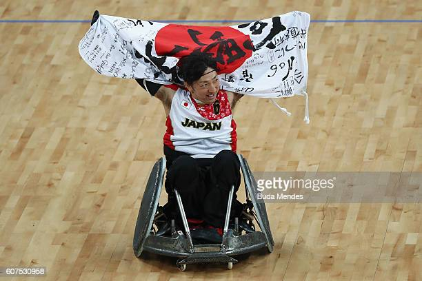 Kazuhiko Kanno of Japan celebrates after winning the match against Canada in the Men's Wheelchair Rugby Bronze Medal match on day 11 of the Rio 2016...