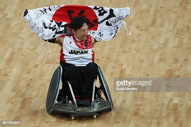 Kazuhiko Kanno of Japan celebrates victory in the Men's Wheelchair Rugby Bronze Medal match against Canada on day 11 of the Rio 2016 Paralympic Games...