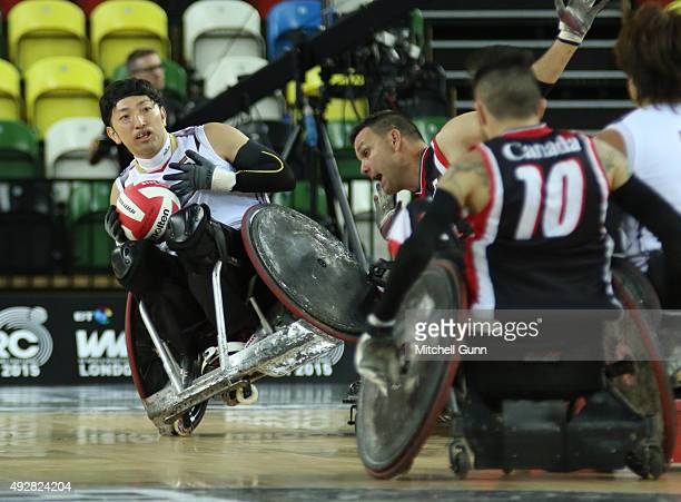 Kazuhiko Kanno of Japan during the 2015 BT World Wheelchair Rugby Challenge semifinal match between Canada and Japan at The Copper Box on October 15...