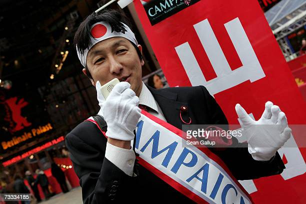 Kazuhiko Yamauchi attends an impromptu photocall to promote the movie 'Campaign' during the 57th Berlin International Film Festival on February 15...