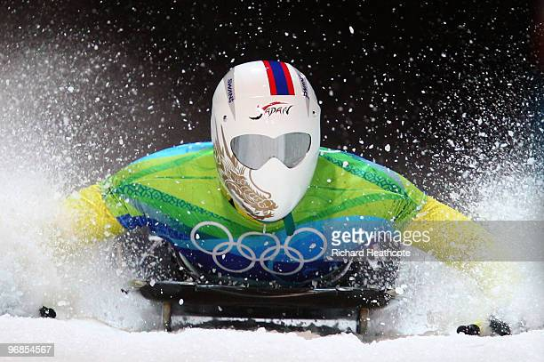 Kazuhiro Koshi of Japan competes in the men's skeleton run 1 on day 7 of the 2010 Vancouver Winter Olympics at The Whistler Sliding Centre on...