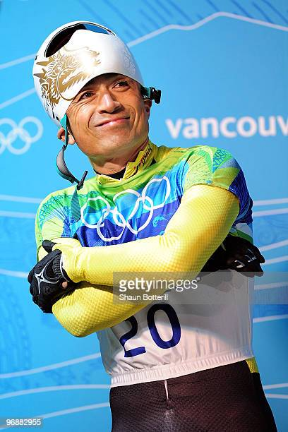 Kazuhiro Koshi of Japan reacts after he completed his run in the men's skeleton fourth heat on day 8 of the 2010 Vancouver Winter Olympics at the...