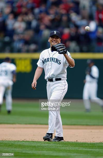 Kazuhiro Sasaki of the Seattle Mariners gets the ball back from catcher during the game against the Kansas City Royals at Safeco Field on May 22 2003...