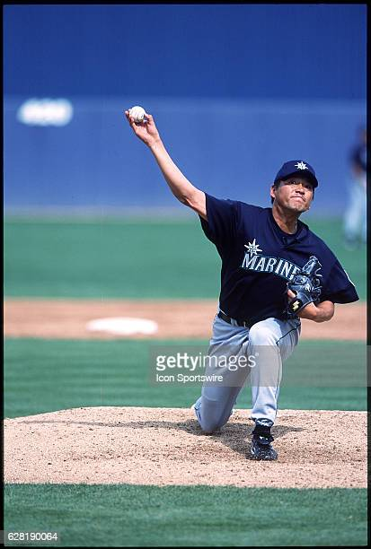 Kazuhiro Sasaki of the Seattle Mariners in action during Spring Training in Peoria AZ