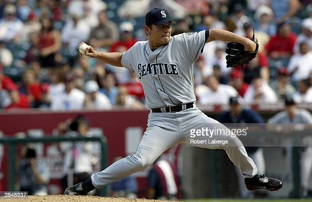 Kazuhiro Sasaki of the Seattle Mariners pitches against the Anaheim Angels in the eighth inning on September 24 2003 at Edison Field in Anaheim...