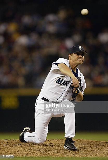 Kazuhiro Sasaki of the Seattle Mariners pitches against the Toronto Blue Jays in the eighth inning of the game on August 13 2003 at Safeco Field in...