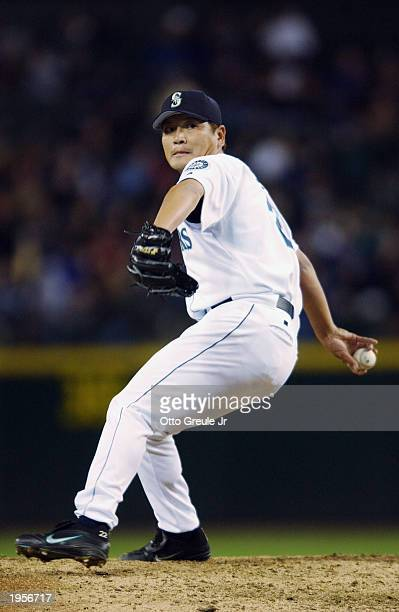 Kazuhiro Sasaki of the Seattle Mariners pitches in the ninth inning against the Oakland Athletics at Safeco Field on April 14 2003 in Seattle...