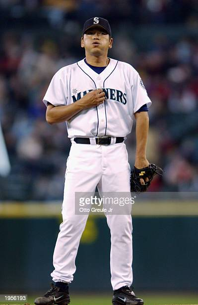 Kazuhiro Sasaki of the Seattle Mariners stands on the mound during the game against the Oakland Athletics at Safeco Field on April 17 2003 in Seattle...