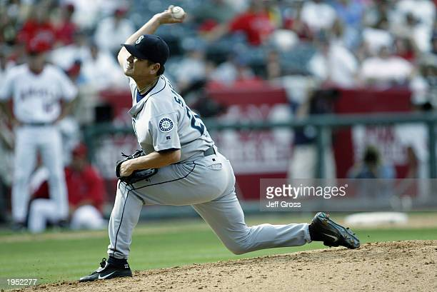 Kazuhiro Sasaki of the Seattle Mariners throws a pitch against Anaheim Angels on April 20 2003 at Edison Field in Anaheim California The Mariners...