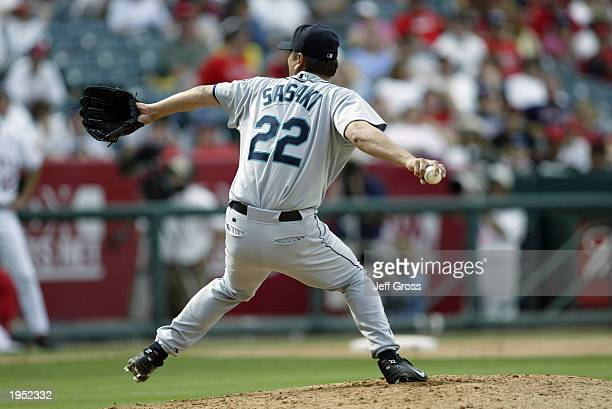Kazuhiro Sasaki of the Seattle Mariners throws a pitch during the game against the Anaheim Angels at Edison Field on April 20 2003 in Anaheim...