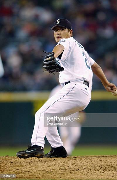 Kazuhiro Sasaki of the Seattle Mariners throws a pitch during the game against the Oakland Athletics at Safeco Field on April 17 2003 in Seattle...