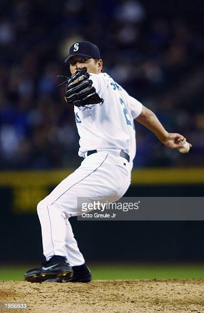 Kazuhiro Sasaki of the Seattle Mariners throws a pitch during the game against the Oakland Athletics at Safeco Field on April 14 2003 in Seattle...