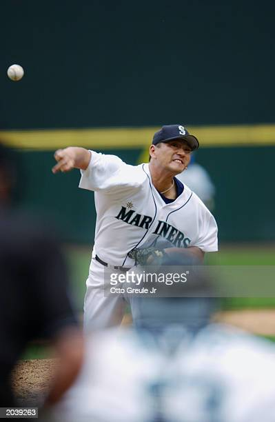 Kazuhiro Sasaki of the Seattle Mariners throws a pitch during the game against the Kansas City Royals at Safeco Field on May 22 2003 in Seattle...