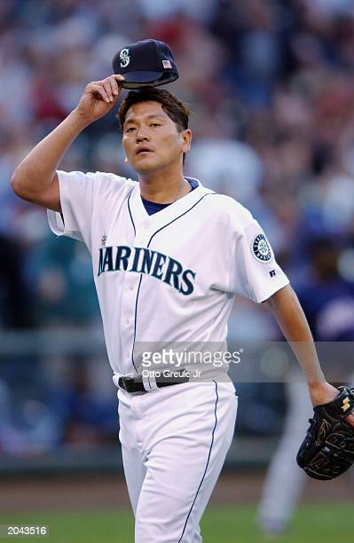 Kazuhiro Sasaki of the Seattle Mariners walks on the field during the game against the Minnesota Twins on May 25 2003 at Safeco Field in Seattle...