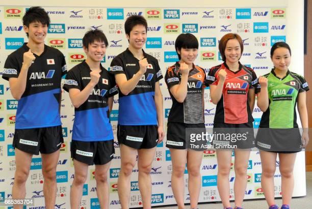 Kazuhiro Yoshimura Koki Niwa Jun Mizutani Miu Hirano Kasumi Ishikawa and Mima Ito pose for photographs during the Japan table tennis national team...