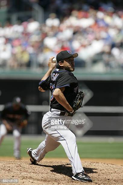 Kazuhisa Ishii of the New York Mets pitches during the game against the Philadelphia Phillies at Citizens Bank Park on June 23 2005 in Philadelphia...