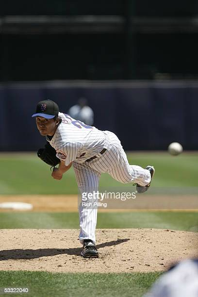 Kazuhisa Ishii of the New York Mets pitches during the game against the San Diego Padres at Shea Stadium on July 21 2005 in Flushing New York The...