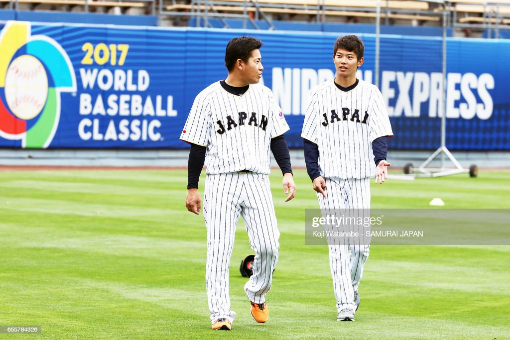 Kazuhisa Makita #35 of Japan in action during a training session ahead of the World Baseball Classic Championship Round at Dodger Stadium on March 20, 2017 in Los Angeles, California.