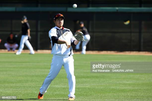 Kazuhisa Makita of Japan in action during a workout ahead of the World Baseball Classic Championship Round at Camelback Ranch on March 17 2017 in...