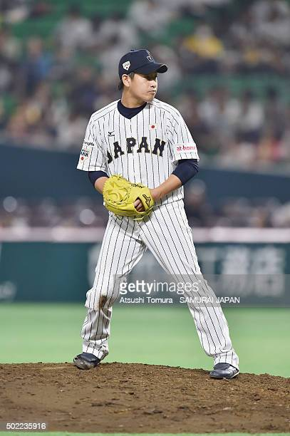 Kazuhisa Makita of Japan in action during the sendoff friendly match for WBSC Premier 12 between Japan and Puerto Rico at the Fukuoka Dome on...