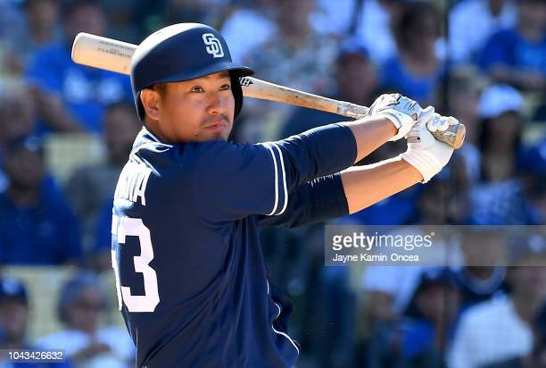 Kazuhisa Makita of the San Diego Padres at bat in the eighth inning of the game against the Los Angeles Dodgers at Dodger Stadium on September 23...