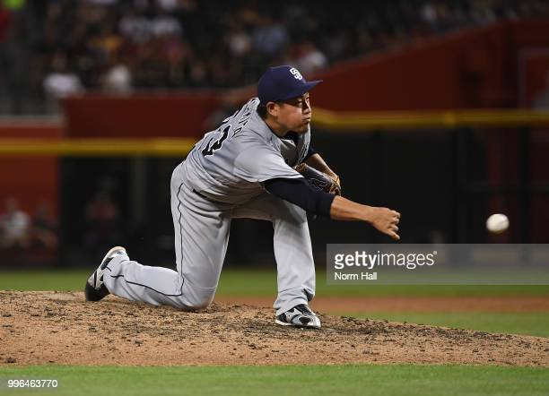 Kazuhisa Makita of the San Diego Padres delivers a fourth inning pitch against the Arizona Diamondbacks at Chase Field on July 7 2018 in Phoenix...