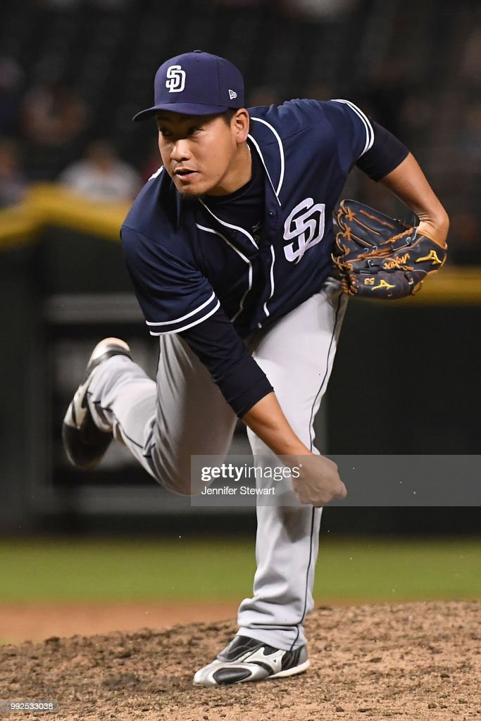 Kazuhisa Makita #53 of the San Diego Padres delivers a pitch in the eight inning of the MLB game against the Arizona Diamondbacks at Chase Field on July 5, 2018 in Phoenix, Arizona. The San Diego Padres won 6-3.