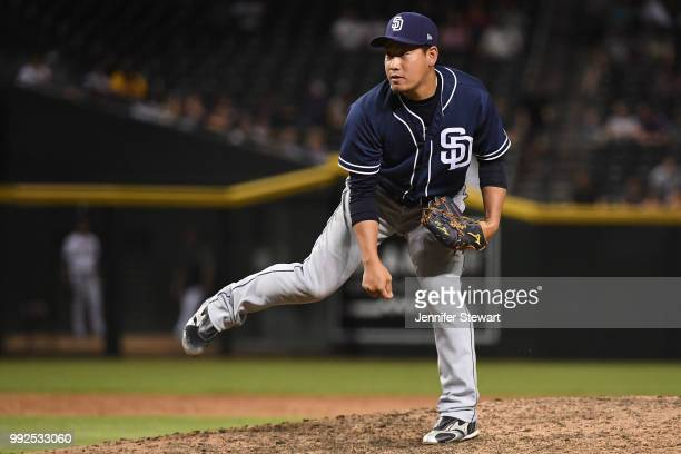 Kazuhisa Makita of the San Diego Padres delivers a pitch in the eight inning of the MLB game against the Arizona Diamondbacks at Chase Field on July...