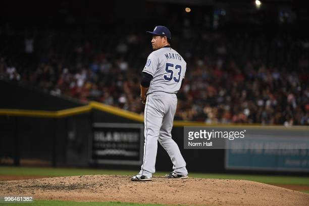 Kazuhisa Makita of the San Diego Padres delivers a third inning pitch against the Arizona Diamondbacks at Chase Field on July 7 2018 in Phoenix...