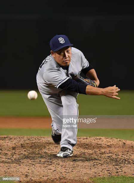 Kazuhisa Makita of the San Diego Padres delivers a warm up pitch during the fourth inning against the Arizona Diamondbacks at Chase Field on July 7...