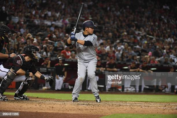 Kazuhisa Makita of the San Diego Padres gets ready in the batters box during the fourth inning against the Arizona Diamondbacks at Chase Field on...