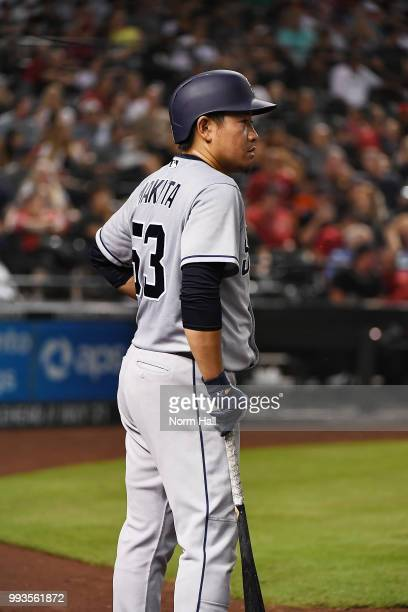 Kazuhisa Makita of the San Diego Padres gets ready in the on deck circle during the fourth inning against the Arizona Diamondbacks at Chase Field on...