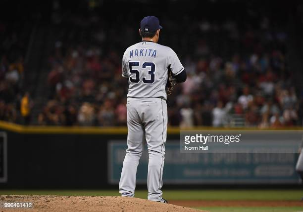 Kazuhisa Makita of the San Diego Padres gets ready to deliver a third inning pitch against the Arizona Diamondbacks at Chase Field on July 7 2018 in...