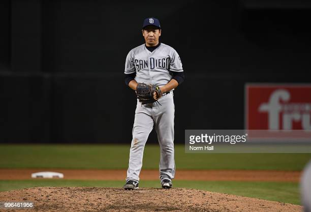 Kazuhisa Makita of the San Diego Padres gets ready to deliver a warm up pitch during the fourth inning against the Arizona Diamondbacks at Chase...
