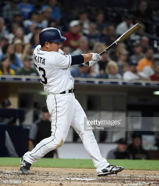 Kazuhisa Makita of the San Diego Padres hits a fly ball during the third inning of a baseball game against the Arizona Diamondbacks at PETCO Park on...