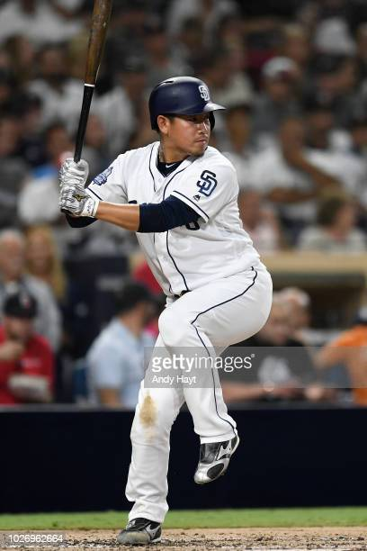 Kazuhisa Makita of the San Diego Padres hits during the game against the Arizona Diamondbacks at PETCO Park on August 16 2018 in San Diego California