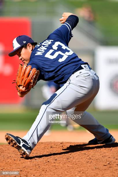 Kazuhisa Makita of the San Diego Padres in action during the game between San Diego Padres and Texas Rangers at Surprise Stadium on March 1 2018 in...