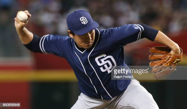 Kazuhisa Makita of the San Diego Padres pitches against the Arizona Diamondbacks during the seventh inning of an MLB game at Chase Field on April 22...