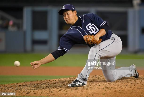 Kazuhisa Makita of the San Diego Padres pitches against the Los Angeles Dodgers in the eight inning at Dodger Stadium on May 25 2018 in Los Angeles...