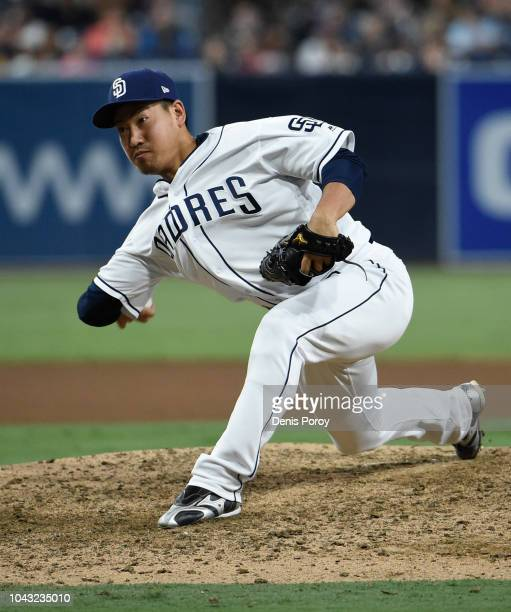 Kazuhisa Makita of the San Diego Padres pitches during the eighth inning of a baseball game against the Arizona Diamondbacks at PETCO Park on...