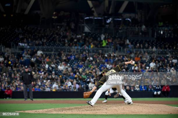 Kazuhisa Makita of the San Diego Padres pitches during the eighth inning of a baseball game against the New York Mets at PETCO Park on April 27 2018...