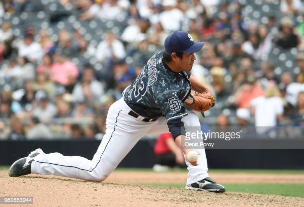 Kazuhisa Makita of the San Diego Padres pitches during the eighth inning of a baseball game against the New York Mets at PETCO Park on April 29 2018...
