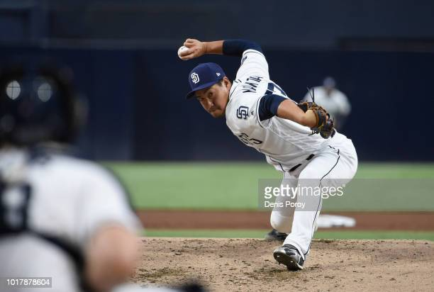 Kazuhisa Makita of the San Diego Padres pitches during the first inning of a baseball game against the Arizona Diamondbacks at PETCO Park on August...