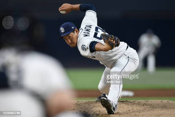Kazuhisa Makita of the San Diego Padres pitches during the game against the Arizona Diamondbacks at PETCO Park on August 16 2018 in San Diego...